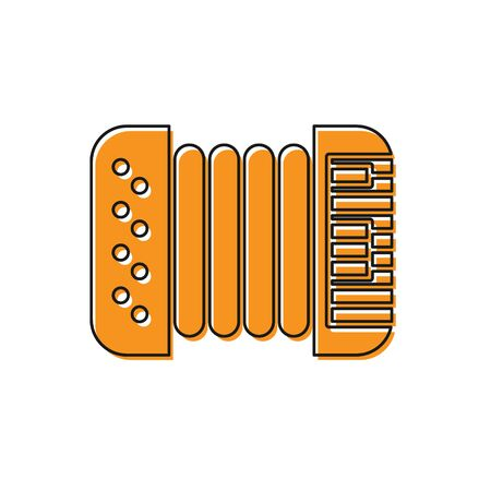 Orange Musical instrument accordion icon isolated on white background. Classical bayan, harmonic. Vector Illustration