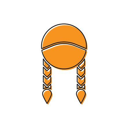 Orange Braid icon isolated on white background.  Vector Illustration