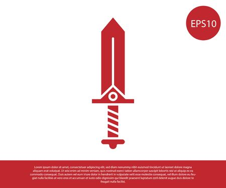 Red Sword for game icon isolated on white background. Vector Illustration