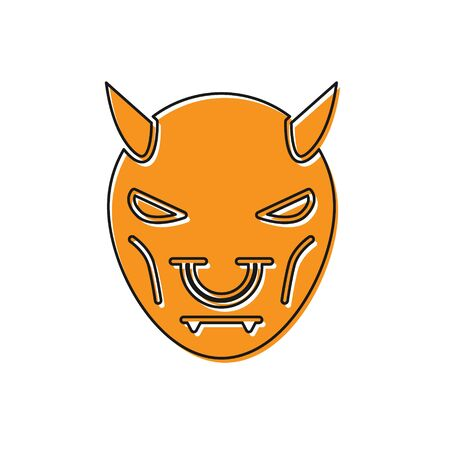 Orange Mask of the devil with horns icon isolated on white background. Vector Illustration Ilustração