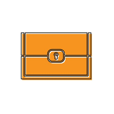 Orange Chest for game icon isolated on white background. Vector Illustration