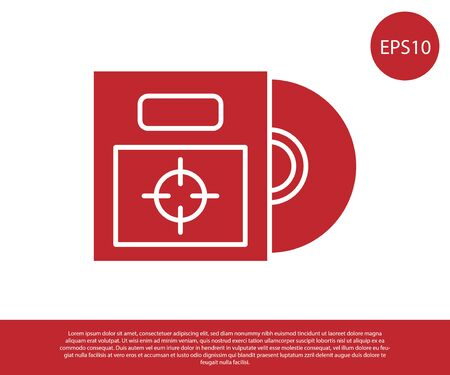 Red CD or DVD disk in box icon isolated on white background. Compact disc sign. Vector Illustration Illusztráció