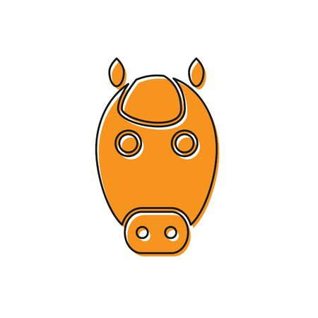 Orange Horse zodiac sign icon isolated on white background. Astrological horoscope collection. Vector Illustration