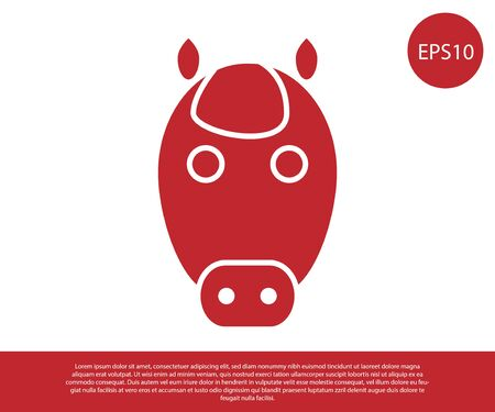 Red Horse zodiac sign icon isolated on white background. Astrological horoscope collection. Vector Illustration