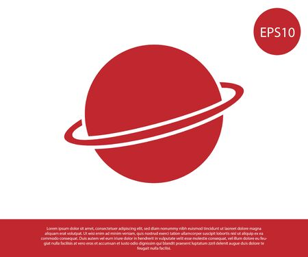 Red Planet Saturn with planetary ring system icon isolated on white background. Vector Illustration