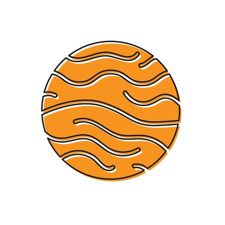 Orange Planet Venus icon isolated on white background. Vector Illustration
