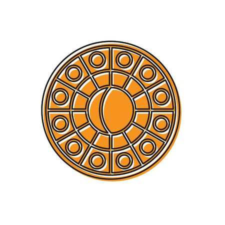 Orange Astrology horoscope circle with zodiac icon isolated on white background. Vector Illustration Archivio Fotografico - 138228501