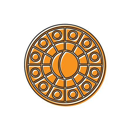 Orange Astrology horoscope circle with zodiac icon isolated on white background. Vector Illustration