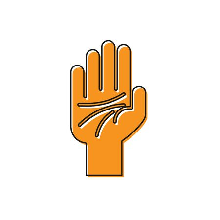 Orange Palmistry of the hand icon isolated on white background. Vector Illustration