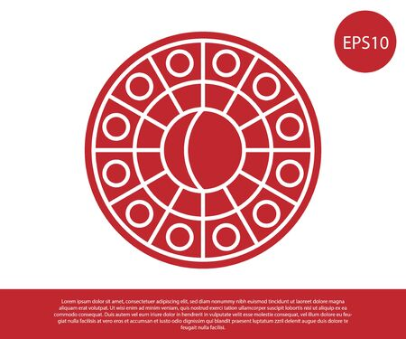 Red Astrology horoscope circle with zodiac icon isolated on white background. Vector Illustration