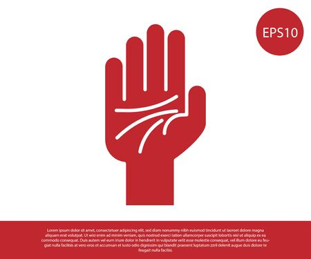 Red Palmistry of the hand icon isolated on white background. Vector Illustration