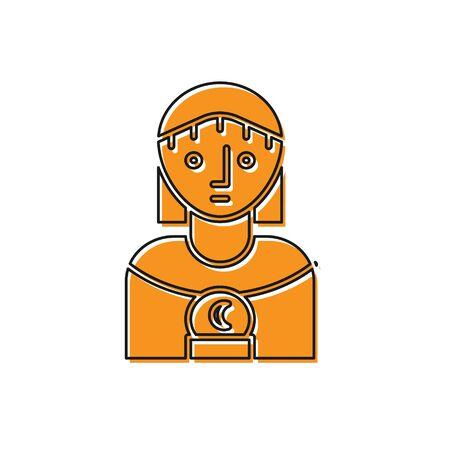 Orange Astrology woman icon isolated on white background. Vector Illustration Illustration