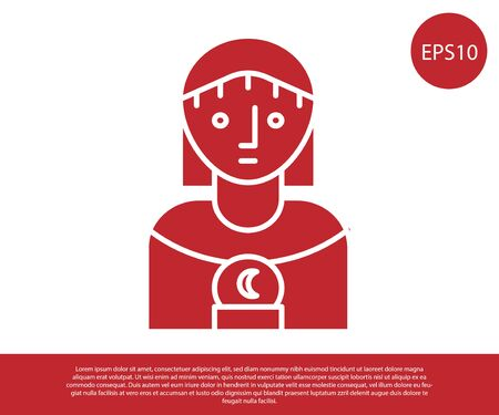 Red Astrology woman icon isolated on white background. Vector Illustration