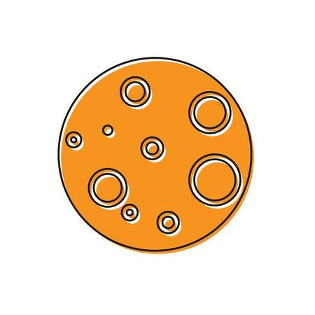 Orange Moon icon isolated on white background. Vector Illustration