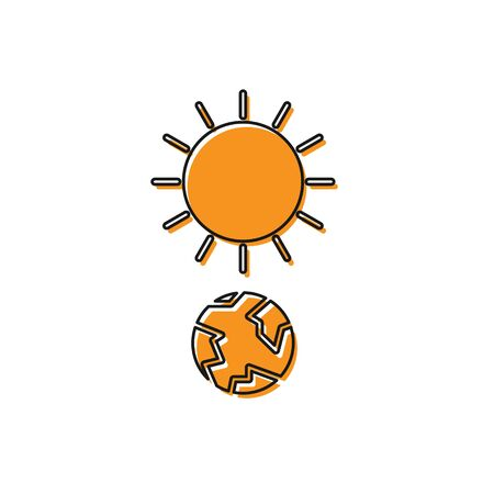 Orange Solstice icon isolated on white background. Vector Illustration Stock Illustratie
