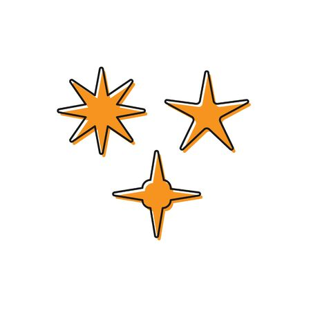 Orange Falling star icon isolated on white background. Meteoroid, meteorite, comet, asteroid, star icon. Vector Illustration Banco de Imagens - 138228613