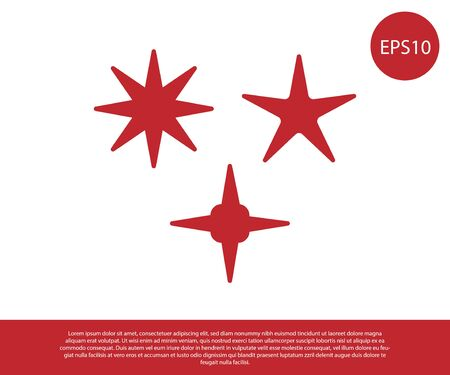 Red Falling star icon isolated on white background. Meteoroid, meteorite, comet, asteroid, star icon. Vector Illustration Banco de Imagens - 138228620