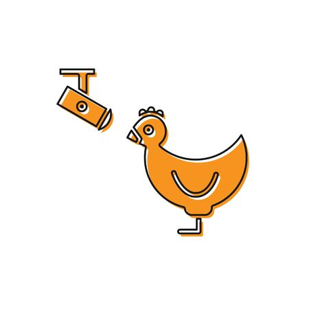 Orange Chicken farm and wireless Controlling CCTV security camera icon isolated on white background. Vector Illustration