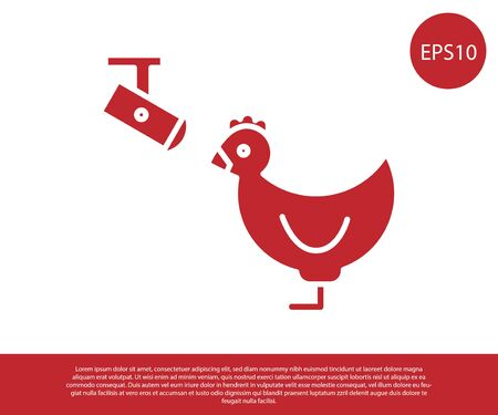 Red Chicken farm and wireless Controlling CCTV security camera icon isolated on white background. Vector Illustration Foto de archivo - 138228647