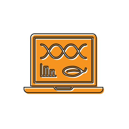Orange Genetic engineering modification on laptop icon isolated on white background. DNA analysis, genetics testing, cloning. Vector Illustration