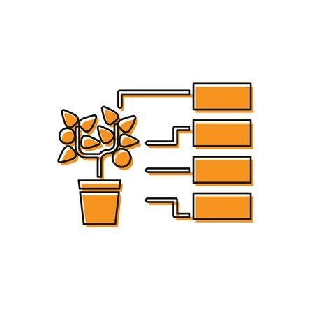 Orange Flower analysis icon isolated on white background. Vector Illustration