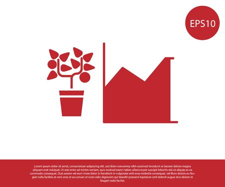 Red Flower statistics icon isolated on white background. Vector Illustration