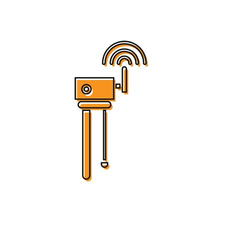 Orange Router and wifi signal symbol icon isolated on white background. Wireless modem router. Computer technology internet. Vector Illustration Illustration