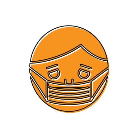 Orange Man face in a medical protective mask icon isolated on white background. Quarantine. Vector Illustration