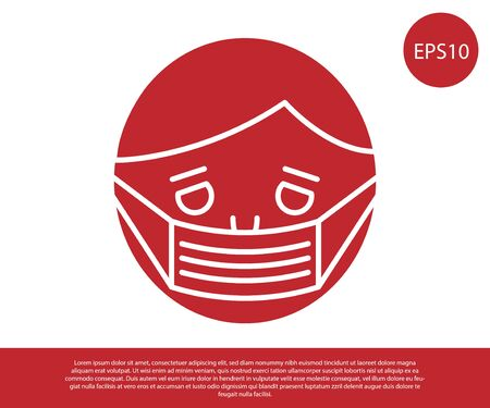 Red Man face in a medical protective mask icon isolated on white background. Quarantine. Vector Illustration