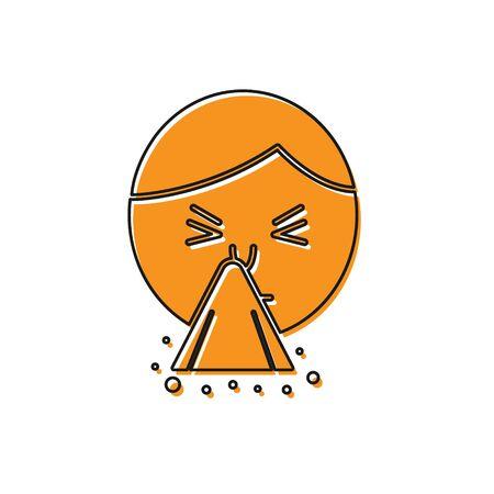 Orange Man holding handkerchief or napkin to his runny nose icon isolated on white background. Coryza desease symptoms. Vector Illustration