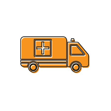 Orange Ambulance and emergency car icon isolated on white background. Ambulance vehicle medical evacuation. Vector Illustration