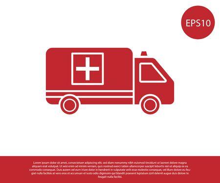 Red Ambulance and emergency car icon isolated on white background. Ambulance vehicle medical evacuation. Vector Illustration