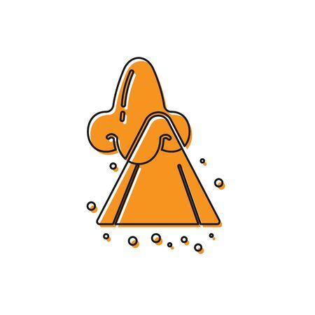 Orange Runny nose icon isolated on white background. Rhinitis symptoms, treatment. Nose and sneezing. Nasal diseases. Vector Illustration Ilustração
