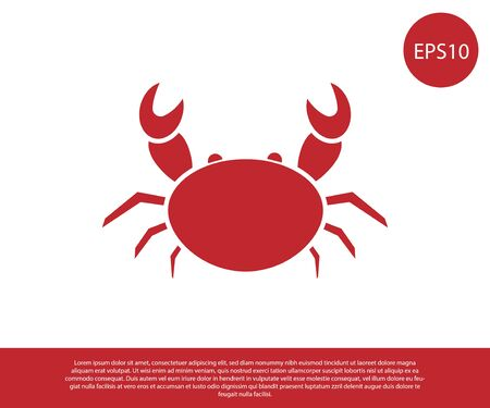 Red Crab icon isolated on white background. Vector Illustration