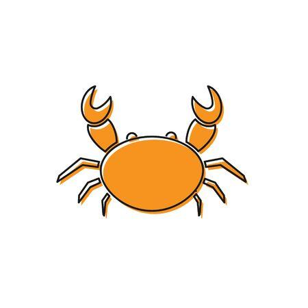 Orange Crab icon isolated on white background. Vector Illustration