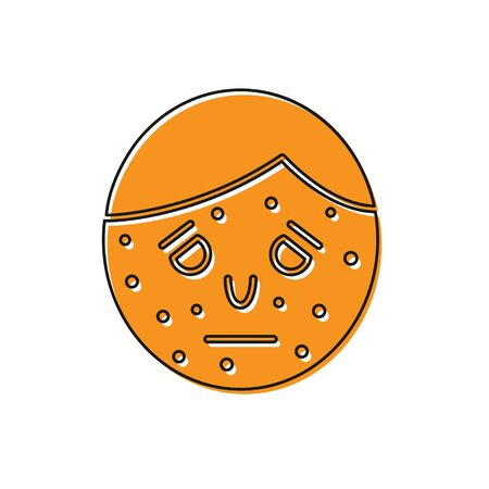 Orange Face with psoriasis or eczema icon isolated on white background. Concept of human skin response to allergen or chronic body problem. Vector Illustration