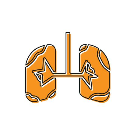 Orange Lungs icon isolated on white background. Vector Illustration Banco de Imagens - 138228835