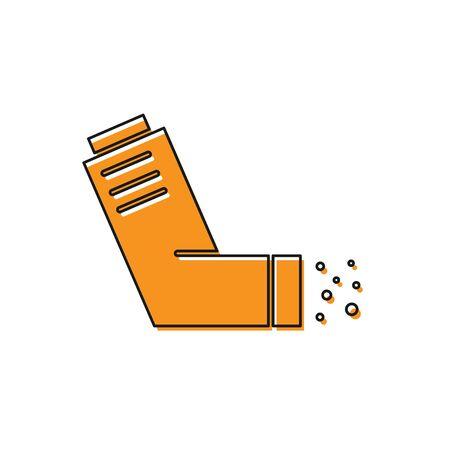 Orange Inhaler icon isolated on white background. Breather for cough relief, inhalation, allergic patient. Medical allergy asthma inhaler spray. Vector Illustration Banco de Imagens - 138228839