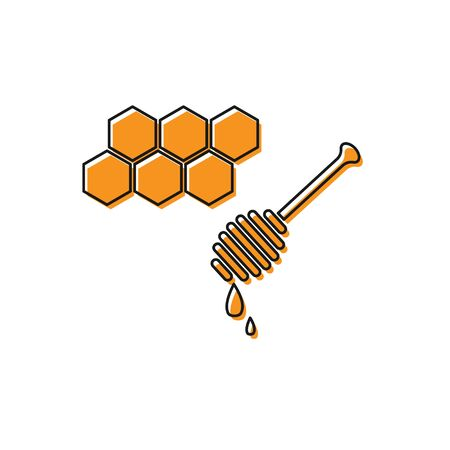 Orange Honeycomb with honey dipper stickicon isolated on white background. Honey ladle. Honey cells symbol. Sweet natural food. Vector Illustration
