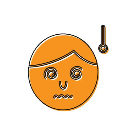 Orange High human body temperature or get fever icon isolated on white background. Disease, cold, flu symptom. Vector Illustration