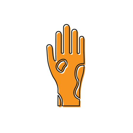 Orange Hand with psoriasis or eczema icon isolated on white background. Concept of human skin response to allergen or chronic body problem. Vector Illustration Illustration
