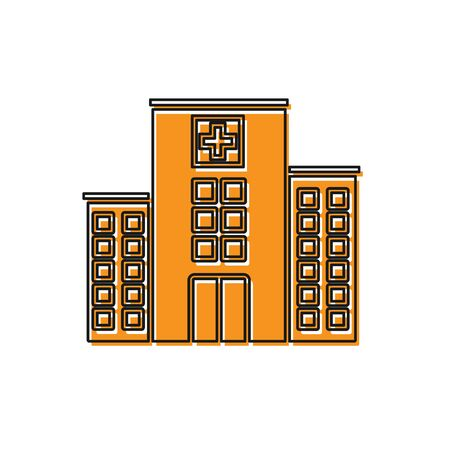 Orange Medical hospital building with cross icon isolated on white background. Medical center. Health care. Vector Illustration