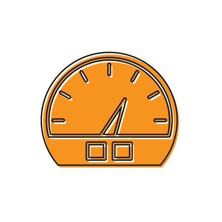 Orange Speedometer icon isolated on white background. Vector Illustration