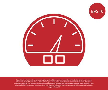 Red Speedometer icon isolated on white background. Vector Illustration