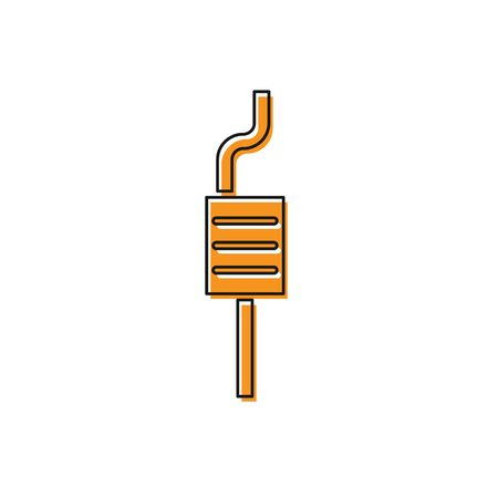 Orange Car muffler icon isolated on white background. Exhaust pipe. Vector Illustration