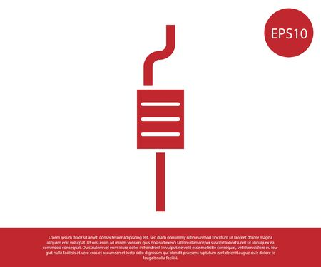 Red Car muffler icon isolated on white background. Exhaust pipe. Vector Illustration