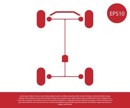 Rotes Chassis-Auto-Symbol auf weißem Hintergrund. Vektorillustration