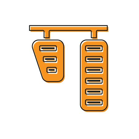 Orange Car gas and brake pedals icon isolated on white background. Vector Illustration