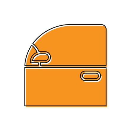 Orange Car door icon isolated on white background. Vector Illustration