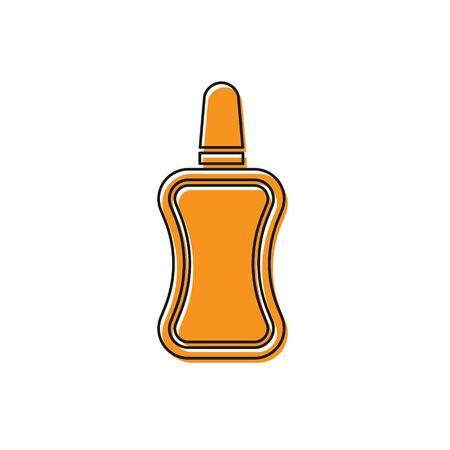 Orange Nail polish bottle icon isolated on white background. Vector Illustration Illustration